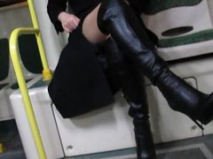 Bus Boots Black Flashing Leather Stockings