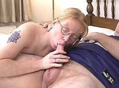 Blonde Glasses Blowjob Ass Milf